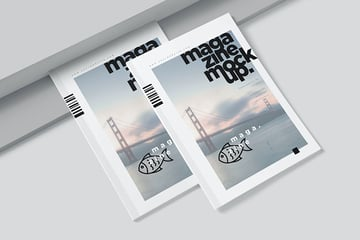 A4 Magazine Cover Mockup and Spread