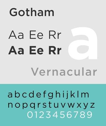 Type specimen for Gotham typefacebyAlexhbis licensed underCC BY-SA 30