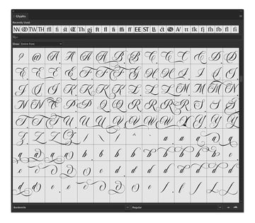How to make swashes in fonts the glyphs panel
