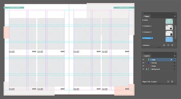 Duplicate the image and text frames to fill the spread