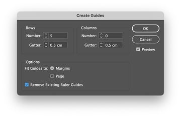 Create guides on the product catalogue template