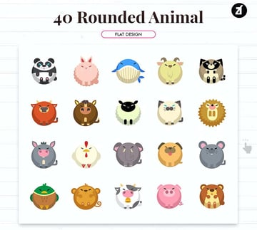 Cute Rounded Animal Icons