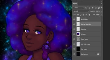 Progress image of sparkles added to the hair area