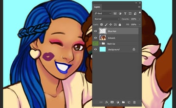 Start of rendering the left characters hair