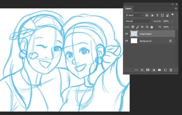 Preview of Initial Sketch on New Layer