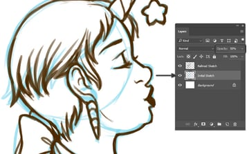 Lowering the Opacity on the Initial Sketch while drawing on top