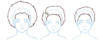 Detail added to 4C hair illustrations