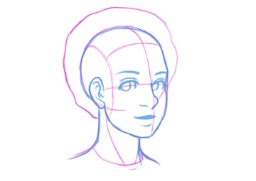 Blocking out the basic features of the facial area