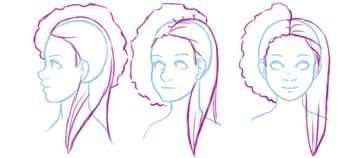 Illustration showing straightened hair