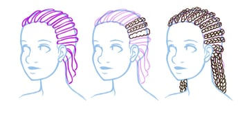 Visual break down of how to draw braids that conform to the head