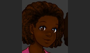 Adding dark values to the hair line area