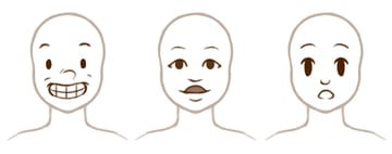 Example of stylized simplified mouths