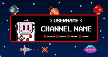 Twitch Banner Maker with 8-Bit Characters and Pixel Art