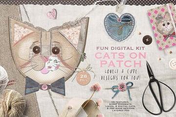 Cats Patchwork Scrapbooking Kit