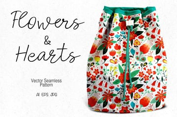 Flowers and Hearts Seamless Vector Pattern