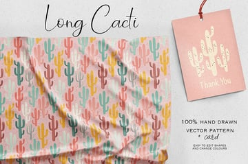 Long Cacti Seamless Pattern