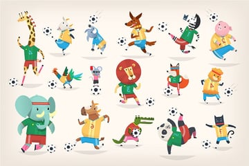 Animals Playing Football by moonery