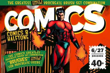 Comics  Halftone Procreate Brushes by LeoSupply