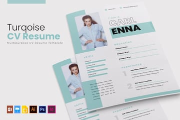 Turqoise  CV  Resume Template Design
