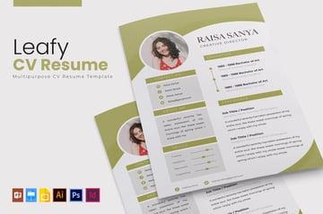 Leafy CV Resume InDesign Template