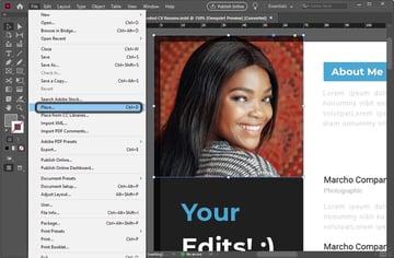 Edit Adobe InDesign Resume Template Tutorial InDesign Place Image