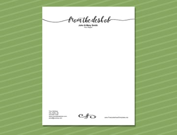 From The Desk Of Letterhead Stationery Template