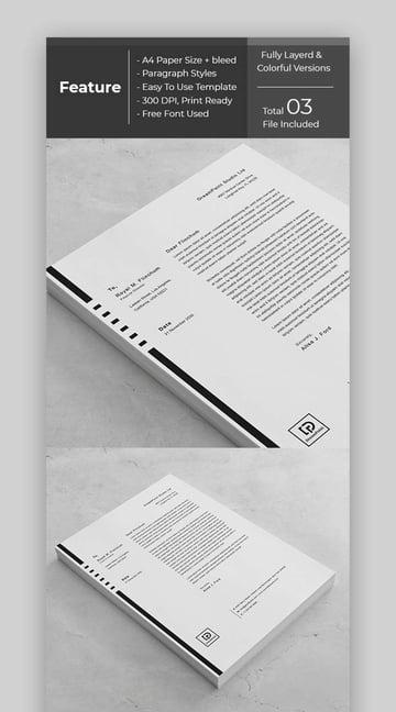 Stylish Black and White Aesthetic Stationery Premium Template