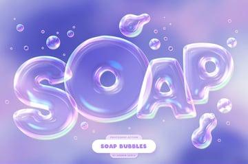 Soap Bubbles Photoshop Text Effect by Sko4