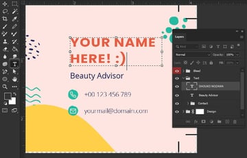 Photoshop type tool business card design
