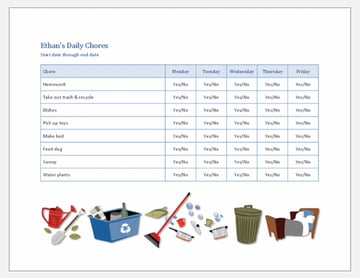 Word Checklist Template for Kids