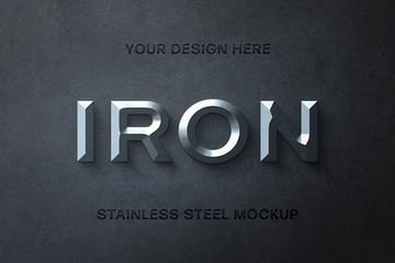 Stainless Steel Metal Texture Font Text Effect