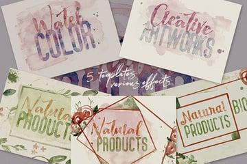 5 Watercolor Text or Shape Effect Templates