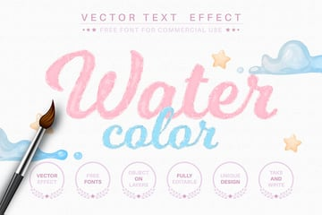 Watercolor - editable text effect, font style