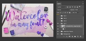 photoshop watercolor text