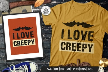 Halloween Love Creepy Print T-Shirt, Retro Badge