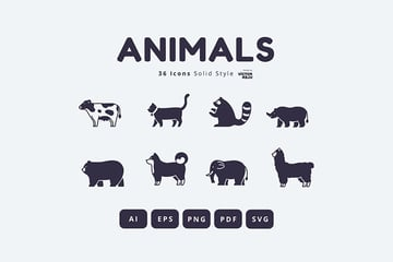 36 Animals Icons Solid Style