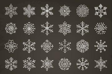 White Winter Snowflakes Doodles. Hand-Drawn Xmas