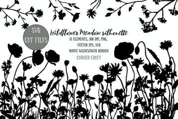 Flower Meadow Illustration PNG, SVG, EPS