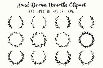 12 Hand Drawn Wreaths Clipart