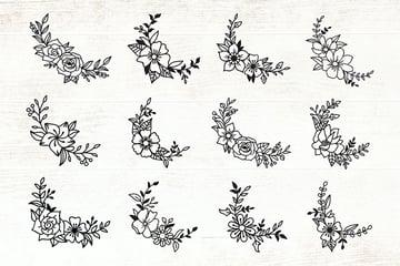 Floral Corner Border Elements - Flowers Vector