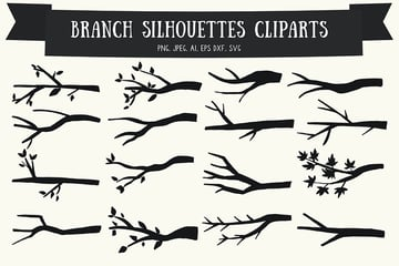 20 Branch Silhouettes Handmade Cliparts