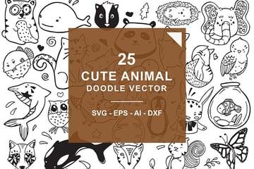Cute Animal Doodle Vector