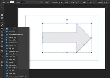 arrow shape tool affinity publisher