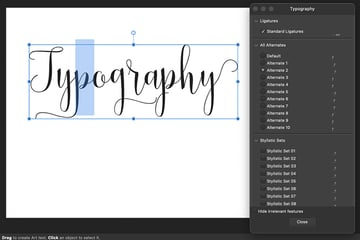 affinity publisher opentype features