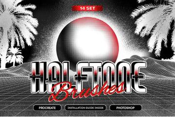 14 Halftone Procreate & PS Brushes