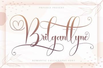 Brilganttyne -script font hand lettering