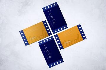 camera die cut business cards