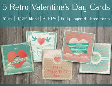 Valentines Affinity Designer Greeting Card Template Set