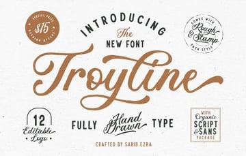 Troyline Font Duo + Logo Templates