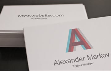 Closeup of finished Business Card Template mockup with custom design